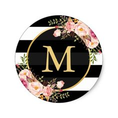 Shop Gold Monogram with Black White Striped Floral Deco Classic Round Sticker created by CardHunter. Monogram Stickers, Monogram Initials, Black Gold Decor, Black White Gold, Pink White, Baby Shower Flowers, Graduation Decorations, Bottle Cap Images, Floral Stripe