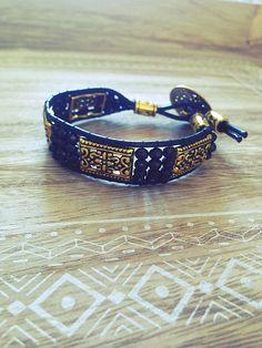 71c9050133f Bracelet wrap noir or doré cuir boho cadeaucristal Bracelet Wrap, Bracelet  Watch, Beaded Bracelets