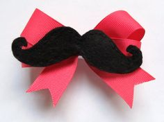 mustache hair clip pink by shucksandshadoodles on Etsy, $6.00