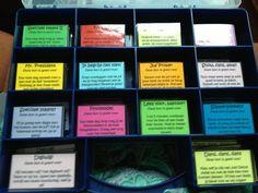Beloningskaartjes waaruit kinderen kunnen kiezen als hun spaarkaart vol is