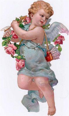 Vintage Cupid with Pink Roses & Quiver of Arrows Die Cut, ca. 1900s
