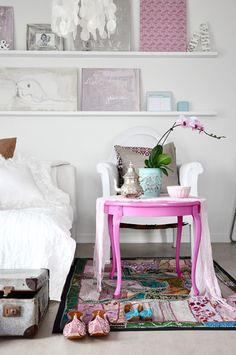 Bedroom Pink + White