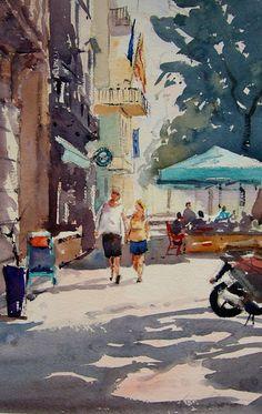 La colla dels dimecres:  Al voltant de la Plaça de les Olles, Barcelona. Aquarel.les