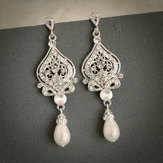 GRACE, Vintage Inspired Wedding Bridal Earrings, White, Ivory Pearl and Rhinestone Chandelier Wedding Earrings, Hollywood Glamour Jewelry., via Etsy.