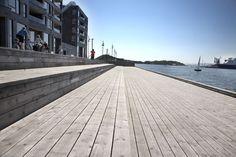 Weathered #Kebony #Scots #Pine. Sørenga Boardwalk, Oslo. Still looking beautiful...