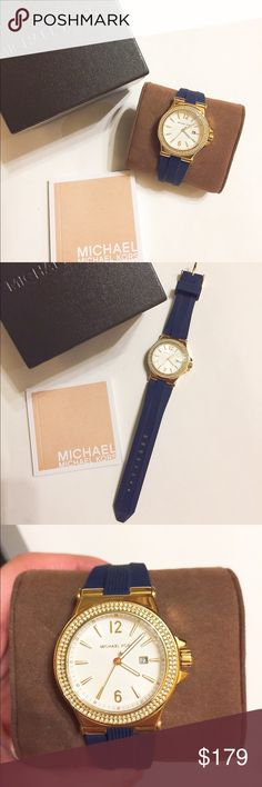 NIB Auth Michael Kors Women Watch Brand new in box!!! Authentic. Comes in original box, include instruction book shown on pics. Very pretty. Gold tone. Shining crystals around the surface. Rubber band. Navy blue color for the band. Retail $225 + tax.                                               ❌no trade ❌no lowballing offers!!! Michael Kors Accessories Watches