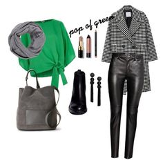 Pop of green French Connection, Alice Olivia, Bobbi Brown, River Island, Mango, Cosmetics, Green, Polyvore, Stuff To Buy