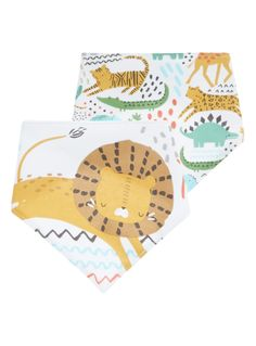These jungle themed hanky bibs will make a handy addition to your newborn's essentials. Perfect for mealtimes, these bibs have a towelled back and fuss-free poppers. Boys jungle hanky bibs 1x Jungle pattern bib 1x Lion bib Towelled back Pop fastening Keep away from fire