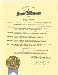 Centerville, OH - Mayoral proclamation recognizing Diaper Need Awareness Week (Sept. 28 - Oct. 4, 2015) #DiaperNeed www.diaperneed.org