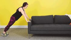 2. Do 10 couch push-ups. | Here's A Netflix Workout You Can Do On Your Couch