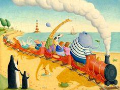 Seaside Train Ride Canvas Wall Art