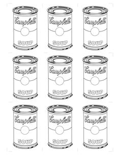 Andy Warhol Coloring Sheets - High Quality Coloring Pages Andy Warhol Pop Art, Andy Warhol Soup Cans, Art Pop, Campbell Soup Art, Pop Art Dibujos, Pop Art For Kids, Art Worksheets, Ecole Art, Art Template
