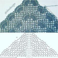 Crochet Scarf Diagram, Crochet Shawl Free, Crochet Chart, Crochet Scarves, Crochet Clothes, Crochet Lace, Crochet Designs, Crochet Patterns, Crochet Patron