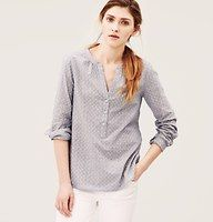 Loft Flowerdot Softened Shirt. In a barely-there striped cotton with subtle floral dots.  Split neck. Long sleeves. Henley button placket. Button cuffs. Shirred back yoke. Shirttail hem with side gussets.