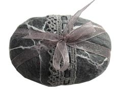 Felted Soap Grey with lace and organza