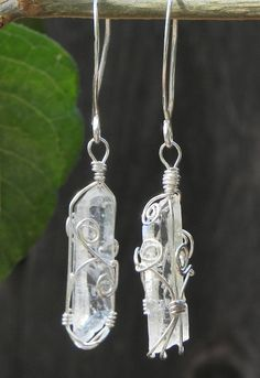 Double Pointed Quartz Wire Wrapped Crystal Earrings From LWJewelryCreations