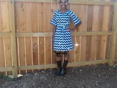 Tone on Tone Navy Chevron Bell Sleeve by JustSewStinkinCute, $62.00
