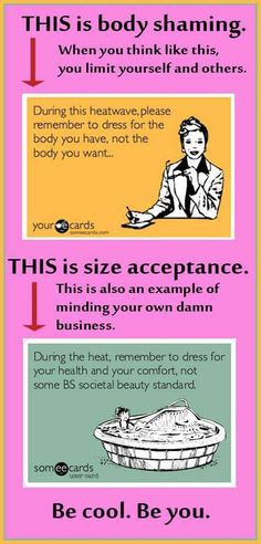"""Because when you talk about how some other woman """"shouldn't be wearing that,"""" all it sounds like to me is, """"She's breaking rules I feel compelled to follow and that's not fair.""""  If you want to break those rules, break them.  If you don't, don't.  What someone else does with those rules, which are bullshit anyway, is none of your business."""