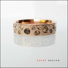 Champagne Cognac Diamonds - gypsy set 14k rose gold band (I would like it in white gold instead)