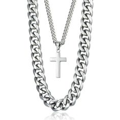 This cross pendant necklace made of high quality stainless steel,super cool double chain design!#cross pendant necklace,#double chain,#mens necklaces,#punk jewelry,#double necklace