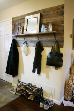 I love the idea of not just doing an accent wall with pallet wood, but a smaller accented area on the wall.. This would look great framed as well.