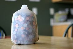 Save change in a milk jug. Who says a piggy bank has to look like a pig?