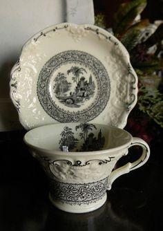 Antique Black English Transferware Demitasse Cup & Saucer Genoa Embo