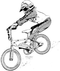 Before becoming the internationaly known entrepreneur that have landed Haro Bicycles, Bob Haro was first a radical rider pioneer in Freestyle Bmx and also a dope illustrator and cartoonist. Bmx Bicycle, Bmx Bikes, Cycling Bikes, Haro Bikes, Haro Bmx, Cycling Jerseys, Cycling Quotes, Cycling Art, Bmx Pro