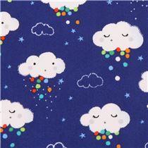 dark blue cloud dot star Michael Miller fabric