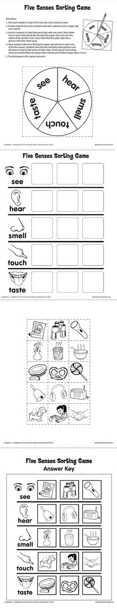 Five Senses Sorting Game Printable from Lakeshore Learning: