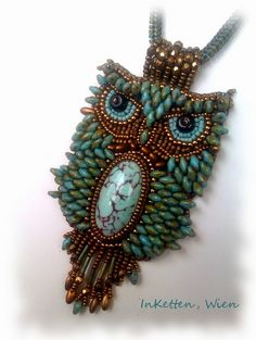 Beaded Owl Pendant by Inketten..I love this and would purchase the pattern if available!