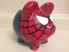 The Amazing Spider-Man Painted Ceramic Piggy Bank Medium Pottery Painting, Ceramic Painting, Personalized Piggy Bank, Superhero Room, Paper Mache Crafts, Martha Stewart Crafts, Pig Bank, Designer Toys, Hand Painted Ceramics