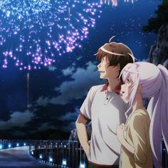 Aira - tsukasa- plastic memories - anime couple - fireworks