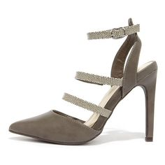 Reptile Exhibit Taupe Pointed Caged Heels ($22) ❤ liked on Polyvore featuring shoes, pumps, grey, stiletto pumps, gray pumps, pointy toe pumps, grey shoes and pointed toe ankle strap pumps