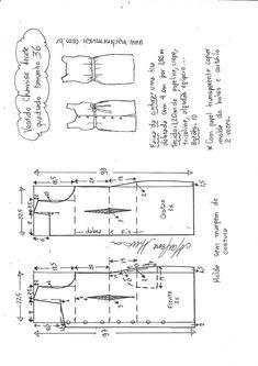 Vestido com recorte e pala abotoada no decote. Dress Sewing Patterns, Sewing Patterns Free, Clothing Patterns, Sewing Clothes, Diy Clothes, Sewing Hacks, Sewing Projects, E 38, Pattern Drafting