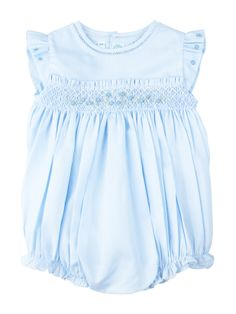 92e10baa2a9 Feltman Brothers baby girl sleeveless blue creeper with pintucks