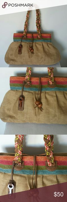 """Fossil leather trim hobo handbag This bag is huge and super cute! Leather trims with a coated cloth body. Magnetic closure and in mint condition.  Length is 20"""" Height 12 1/2"""" Strap drop 10"""" Fossil Bags Hobos"""