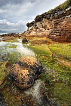 Laig Bay Cliffs. Sandstone Concretion. Isle of Eigg. Small Isles. Scotland.