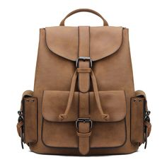 This backpack is in fashion style. It is featured with leather-look, drawstring closure. Besides, it is with front and side pockets, which perfect for keeping your most essential pieces - keys, change and other little pieces. Moreover, it is outfitted with slip pockets so you can easily store small tech devices, your purse and other treasures without worry. Team it up with any tops and bottoms to enjoy your time.