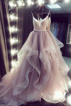 Champagne Straps Tulle V-neckline Layers Long Party Dress, Evening Dress Prom Dress by BeMyBridesmaid, $215.70 USD Champagne Homecoming Dresses, Champagne Evening Dress, Long Prom Gowns, Prom Dresses, Formal Dresses, Wedding Dresses, Dress Prom, Adelaine Kane, Mermaid Dresses