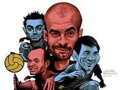 Tribute to the Barca of Pep Guardiola, by Gonza Rodriguez. #Barca,#Barcelona,# futbol,#caricatures,#guardiola,#pep,#xavi,#messi,#lapulga,#lapulce,#calcio,#drawing,#soccer,#fcbarcelona,#MasQueUnClub,#iniesta,#gonzarodriguez,#tribute
