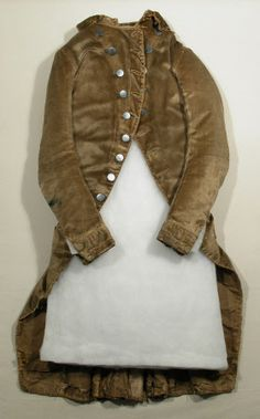 Frock coat National Trust Inventory Number 1348790 Date1790 MaterialsCanvas, Linen, Silk stockinette, Silk twill, Steel, Velvet CollectionSnowshill Wade Costume Collection, Gloucestershire (Accredited Museum)