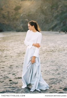 Bridal inspiration for the modern minimalist | Top by The Row | Skirt by Alexandra Grecco | Photograph by Brittany Lauren