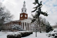 Memorial Hall covered in snow