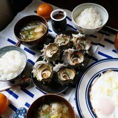 bkf = bkf = grilled Sazae shell fish, rice, sunny side up and koimo taro, leek and Hakusai cabbage miso soup