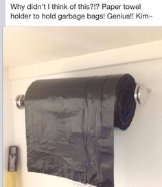 Garbage bags on paper towel roll in pantry