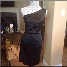 Calvin Klein LBD SPANX not required - forgiving side ruching, thick stretch gorgeous curve hugging/enhancing - worn just a few hours. Absolutely perfect, classy and sexy!! Size 2 petite Calvin Klein Dresses
