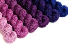 Crescendo hand-dyed gradient sets - Sweet Paprika Designs Wool Yarn, Knitting Yarn, Merino Wool Blanket, Spring Scarves, Knitted Slippers, Rustic Feel, Hand Dyed Yarn, Needles Sizes, Yarns