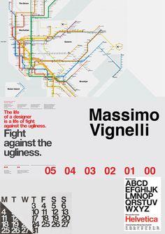 """Massimo Vignelli was een Italiaanse ontwerper van onderandere meubelen, grafische kunsten, producten zoals bestek en bekers en zijn werken voor Knoll. Zijn  motto was dan ook """"If you can design one thing, you can design everything"""". Hij was co-founder van Vignelli Associates met zijn vrouw Lella. Zijn meest bekende werk is de metro-map en borden voor New York City. Waarbij ook weer typerend voor hem het lettertype Helvetica gebruikt werd."""