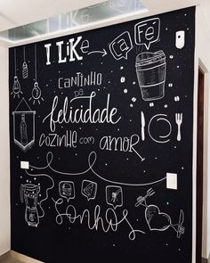 Blackboard Drawing, Chalkboard Art, Mural Cafe, Different Lettering Styles, Small Restaurant Design, Doodle Wall, Chalk Wall, Holiday Club, Chalk Lettering
